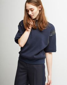 Le Ciel Bleu Spangles Sweat Top and Straight Wool Pants