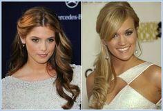 Brautjungfer Frisuren für langes Haar Halb bis