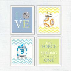 Nursery Art Print. Star Wars Poster R2-D2 BB-8 by waiwaiartprints