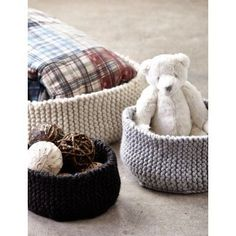 Free knitting pattern for Garter Ridged Baskets and more household knitting patterns