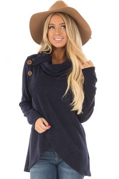 Lime Lush Boutique - Navy Cowl Neck Wrap Style Sweater with Button Details, $39.99 (https://www.limelush.com/navy-cowl-neck-wrap-style-sweater-with-button-details/)