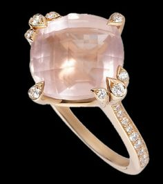 rose quarts engagement rings | Cartier Rose Gold and Quartz Ring