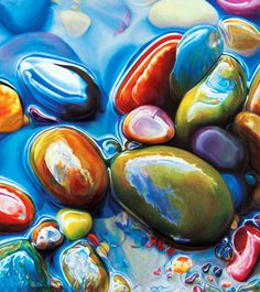 Ester Roi's collection of Rocks & Water artwork. Ester Roi is an artist and inventor specializing in wax-based drawing media. She has invented the Icarus Drawing Board to soften and melt the waxy pigments in her paintings. Art Oil, Colored Pencil Artwork, Pastel Painting, Colorful Paintings, Oil Pastel Art, Realistic Art, Color Pencil Art, Painted Rocks, Water Artwork