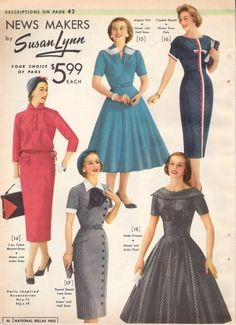 A mix of 1957 dress in sheath and full styles