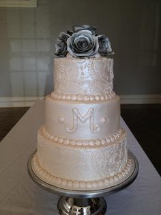 Pearl Lace Emboss Wedding Cake Bake Your Day Llc Alexandria La Www Facebook Bakeyourdayllc 318 229 0299 Hotmail