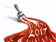 happy new year 2017 - paintbrush and paint, digital painting. You can buy my artwork >>> #2017 #newyear #happy #party #holiday #eve  #christmas #tree # xmas #paintbrush #brush #background #celebration #card #postcard #magical #baubles #holidays #graphic #gifts #shopping #gloves #drawing #design #wallpaper #illustration #calendar #club #ceremony #modern #digital painting #red #pen