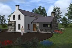 ie Exterior movie of our house plan Type To this and other house plans go to www. Farmhouse Floor Plans, Modern Farmhouse, Bungalow House Design, Bungalow Ideas, Rural House, Farm House, House Outside Design, Cottage Extension, L Shaped House