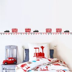 I've just found Children's London Bus And Taxi Wall Sticker Border. You don't have to live in London to love this wall sticker! Reusable Wall Stickers, Wall Stickers Uk, Boy Toddler Bedroom, Big Boy Bedrooms, Toddler Rooms, Kids Rooms, London Wall, Room London, Union Jack Bedroom