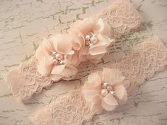 SALE Sale Wedding Garter , Blush Garter, Set with Toss Garter in Blush  , Bridal Garter with Chiffon Blossoms pearls and rhinestones