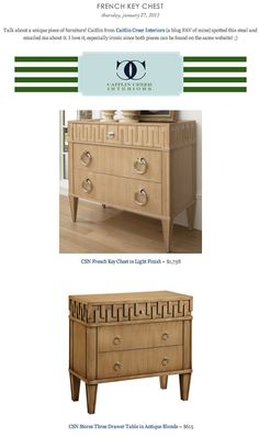 COPY CAT CHIC FIND: CSN French Key Chest in Light Finish VS CSN Stores Three Drawer Table in Antique Blonde