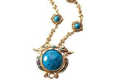 Egyptian Revival Blue Nile Edgar Berebi Limited Edition by Ourfind Blue Nile, Egyptian, My Etsy Shop, Enamel, Turquoise, Pendant Necklace, Check, Gold, Jewelry