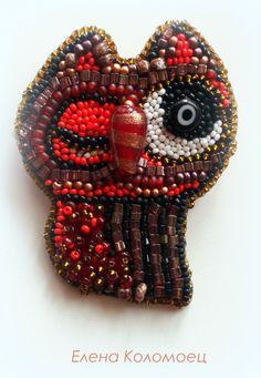 "Helen Kolomoets. Brooch ""Owl"". Bead embroidery. Елена Коломоец. Брошь ""Сова"". Вышивка бисером."