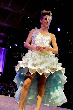my dress from last year's paper fashion show Dress Card, I Dress, Fashion Shows 2015, Fashion 2020, Recycled Fashion, Recycled Clothing, Thrift Store Refashion, Newspaper Dress, Hoop Skirt