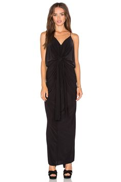 MISA Los Angeles Domino Tie Front Maxi Dress in Black | REVOLVE