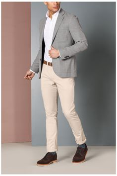 Beige Blazer Outfit, Blazer Outfits Men, Mens Fashion Blazer, Mens Blazer Styles, Gray Blazer Men, Mens Smart Outfits, Grey Jacket Mens, Blazers For Men Casual, Herren Outfit