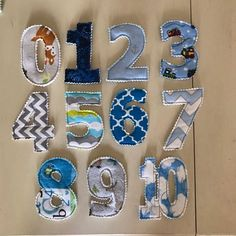 Fabric numbers with magnets 0 - 10 with magnets sewn inside between layers :) Fabric Toys, Fabric Crafts, Sewing Crafts, Diy Baby Gifts, Diy Crafts For Gifts, Small Sewing Projects, Sewing Projects For Beginners, Homemade Toys, Homemade Gifts