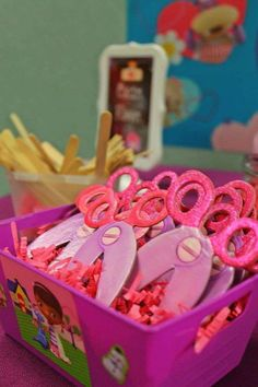 Fun favors at a Doc McStuffins birthday party! See more party planning ideas at CatchMyParty.com! | Doc McStuffins Birthday Party Ideas | Doc McStuffins Party | Doc McStuffins |