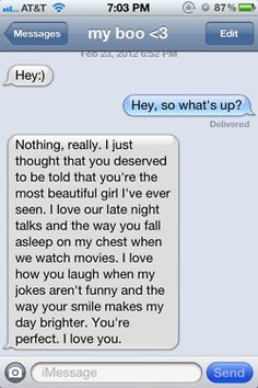 "Yeah, I'm the only girl in the world that would reply ""Can you stop being so cheesy, and just say you won't cheat?"" I'd gag if my guy sent me this. Relationship Texts, Cute Relationship Goals, Cute Relationships, Sweet Texts, Cute Texts, Funny Texts, Cute Text Messages, Sweet Messages, Cute Messages For Boyfriend"