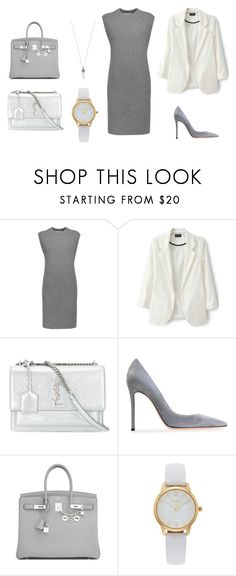 """Base set_monochrome"" by grinok on Polyvore featuring мода, Alexander Wang, Yves Saint Laurent, Gianvito Rossi, Hermès, Vivani и Marc Jacobs"