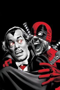 Deadpool 28 Vampire Cover art by ~mikemayhew on deviantART (i., Deadpool being his normal weird self) Deadpool Art, Deadpool Funny, Lady Deadpool, Deadpool Stuff, Dead Pool, Comic Book Characters, Comic Books Art, Book Art, Wolf