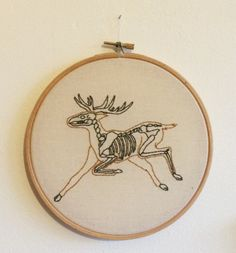 Anatomical Stag Embroidery by HandmadeEntomology on Etsy
