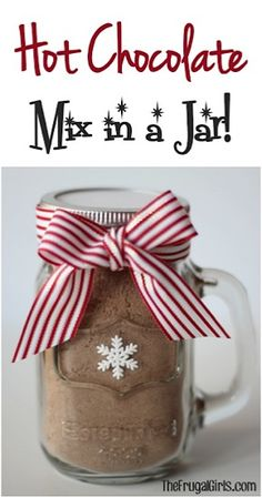Nothing beats a warm cup of Hot Chocolate on a chilly day! This Hot Chocolate Mix in a Jar makes a fabulous Gift in a Jar... and a delicious cup of cocoa! What You'll Need: 2 cups Powdered Milk 1 c...