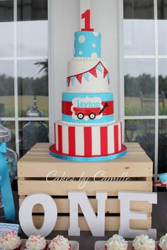 Amazing cake at a little red wagon birthday party! See more party planning ideas at CatchMyParty.com!