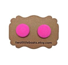 Hot pink fabric button earrings handmade stud or by TwoLittleBoats