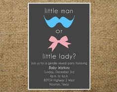 PRINTABLE Little Man or Little Lady Gender Reveal invitation Boy or girl- colors can be customized. Gender Reveal Party Invitations, Baby Gender Reveal Party, Gender Party, Baby Party, Baby Shower Parties, Everything Baby, Baby Time, Reveal Parties, Decoration