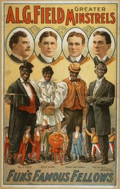 A poster advertisement for a Black Minstrel Show depicting the white actors and their black characters.