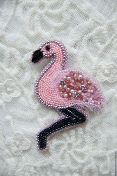 Купить Фламинго Брошь Птица Брошь из бисера 'Paradise Bird' - розовая брошь…