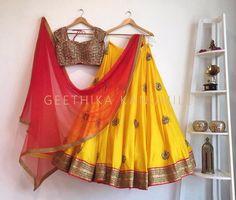 21 Half Saree Color Combinations That You Didn't Think of Earlier Half Saree Lehenga, Lehnga Dress, Saree Look, Lehenga Blouse, Anarkali, Half Saree Designs, Lehenga Designs, Blouse Designs, Blouse Patterns