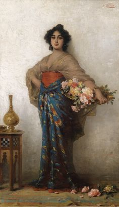 Oriental beauty with a basket of roses, 1907 - Nathaniel Sichel Cultural Studies, Night Aesthetic, Aesthetic Movement, Pre Raphaelite, Portraits, Oriental Fashion, Classical Art, Arabian Nights, Art History
