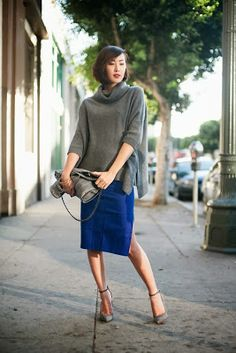 Just a Pretty Style: Grey and blue classy street outfit