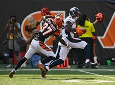 Denver Broncos wide receiver Demaryius Thomas (88) hauls in a 55-yard pass on Cincinnati Bengals cornerback Chris Lewis-Harris (37) and run in for a touchdown during the fourth quarter September 25, 2016 at Paul Brown Stadium. John Leyba, The Denver Post