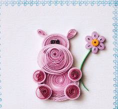 Quilled pink hippo Paper Quilling For Beginners, Paper Quilling Tutorial, Paper Quilling Flowers, Paper Quilling Patterns, Quilled Paper Art, Quilling Paper Craft, Arte Quilling, Origami And Quilling, Quilling Birthday Cards