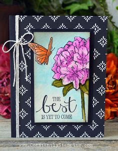 handcrafted card ... water colored rhododendron in real life colors ... luv the look of a framed picture with wide mat ... Stampin' Up!