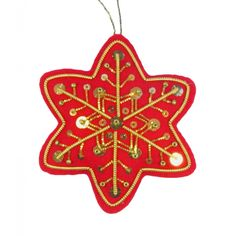 Christmas Snowflake Goldwork Kit - Embroidery Kits - Benton & Johnson Goldwork - Benton & Johnson Embroidered Christmas Ornaments, Christmas Snowflakes, Gold Work, Christmas Decorations, Holiday Decor, Embroidery Kits, Needlework, Felt, Cool Stuff