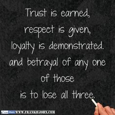 Trust is earned, respect is given, loyalty is demonstrated. and betrayal of any one of those is to lose all three. | www.FrankieJohn.com