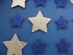 Image of Stars - Small - Dark Blue/Silver Glitter