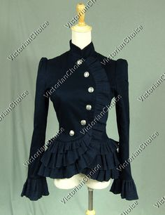 Victorian Edwardian Riding Jacket Women Cross Over Button Up Blazer