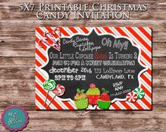 5 X 7 Printable Christmas Candy Birthday Invitation - Christmas Sweet Shoppe Invitation - Christmas Party Invite - Christmas Birthday Party...#candylandbirthday