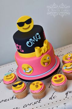 Emoji theme cake and cupcakes by K Noelle Cakes