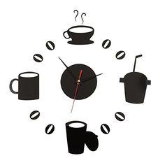 Miryo-Reloj de pared tiempo real pegatinas Adhesivos Vinilo tazas de café para DIY decoracion moderno salon dormitorio