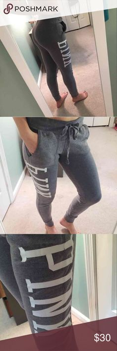 """❤️ PINK Gray Joggers In Excellent Conditon! EUC! Bought these last year for school but barely wore them, I'm not a big sweatpants person. They are the jogger style in a light gray with white """"PINK"""" lettering. Size XS, minimal wear, no flaws, slight slight cracking starting on the letter """"P"""" from the seam but completely unnoticeable just thought I should mention. So cute wish I had worn them more. Tags: Victoria's Secret, Joggers, Urban Outfitters, AERIE, Brandy Melville PINK Pants Track…"""
