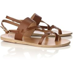 Ancient Greek Sandals Brown Leather Alethea Sandals (285 RON) ❤ liked on Polyvore featuring shoes, sandals, flat sandals, brown, leather sandals, ankle wrap flat sandals, brown leather sandals, toe strap sandals and leather strappy sandals