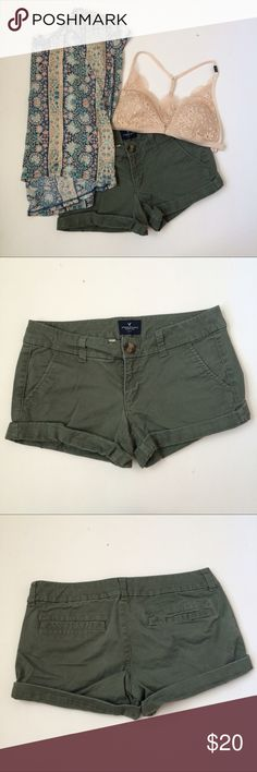 (2) AE Olive Shorts American Eagle Olive Green Shorts in size 2. Great condition! I love the color but they don't fit. Front pockets are regular, back are sewn shut. These are perfect for a military chic look! Bundle and save 💕 American Eagle Outfitters Shorts
