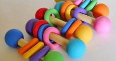 Etsy find of the day – rainbow wooden baby rattle
