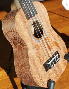 Engraved Soprano Ukulele. Astounding workmanship.
