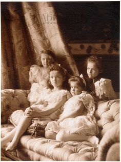 "A relatively unseen version that was a part of a series of formal photos taken of the Grand Duchesses Olga,Tatiana,Maria and Anastasia Nikolaevna Romanova of Russia in 1904. ""AL"""